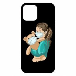 Чехол для iPhone 12/12 Pro Girl with a teddy bear in medical masks