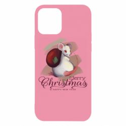 Чехол для iPhone 12/12 Pro Merry Christmas and white mouse
