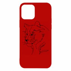 Чехол для iPhone 12/12 Pro Outline drawing of a lion