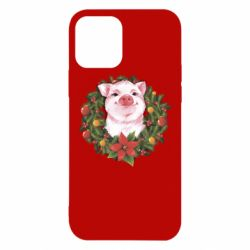 Чохол для iPhone 12/12 Pro Pig with a Christmas wreath