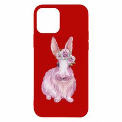 Чохол для iPhone 12/12 Pro Pink bunny with flowers on her head