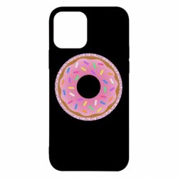 Чехол для iPhone 12/12 Pro Pink donut on a background of patterns