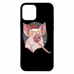 Чохол для iPhone 12/12 Pro Portrait of the pink Pig in a red Santa's cap