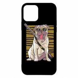 Чехол для iPhone 12/12 Pro Pug with a gun in glasses