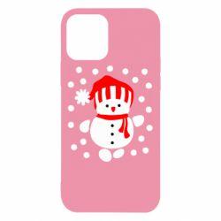 Чехол для iPhone 12/12 Pro Снеговик в шапке