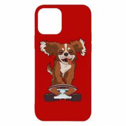 Чехол для iPhone 12/12 Pro Собака Кавалер на Скейте
