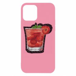 Чохол для iPhone 12/12 Pro Strawberry cocktail on a background of flowers