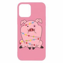 Чохол для iPhone 12/12 Pro Свиня обмотана гірляндою