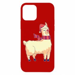 Чехол для iPhone 12/12 Pro Yellow llama in a scarf and red nose