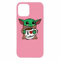 Чехол для iPhone 12/12 Pro Yoda and a mug with the inscription I love coffee