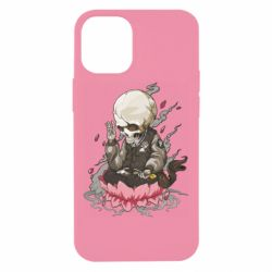 Чехол для iPhone 12 mini A skeleton sitting on a lotus