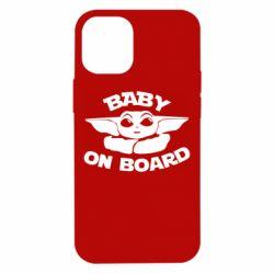 Чехол для iPhone 12 mini Baby on board yoda