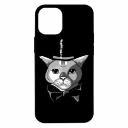 Чохол для iPhone 12 mini Black and white cat intellectual