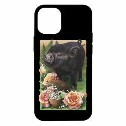 Чехол для iPhone 12 mini Black pig and flowers