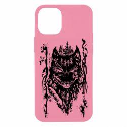 Чехол для iPhone 12 mini Black wolf with patterns