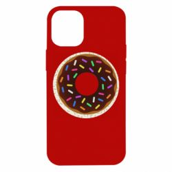 Чохол для iPhone 12 mini Brown donut on a background of patterns
