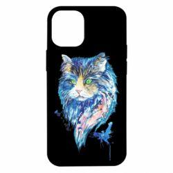 Чехол для iPhone 12 mini Cat in blue shades of watercolor