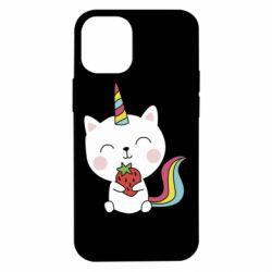 Чохол для iPhone 12 mini Cat unicorn and strawberries