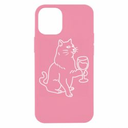 Чохол для iPhone 12 mini Cat with a glass of wine
