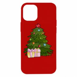 Чехол для iPhone 12 mini Christmas tree and gifts art