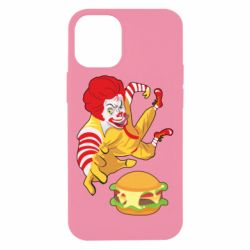 Чехол для iPhone 12 mini Clown in flight with a burger