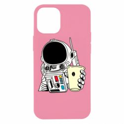 Чехол для iPhone 12 mini Cosmonaut with a coffee