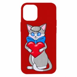 Чехол для iPhone 12 mini Cute kitten with a heart in its paws