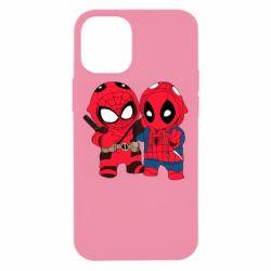 Чехол для iPhone 12 mini Дэдпул и Человек паук