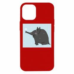 Чохол для iPhone 12 mini Elephant and snowflakes
