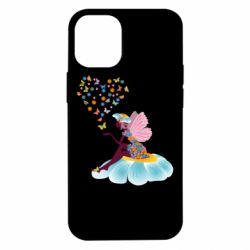 Чехол для iPhone 12 mini Fairy sits on a flower with butterflies