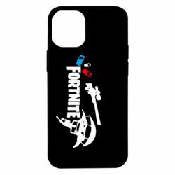 Чехол для iPhone 12 mini Fortnite logo and heroes