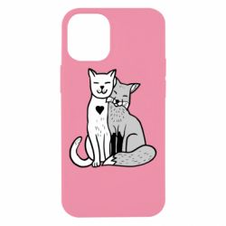 Чохол для iPhone 12 mini Fox and cat heart