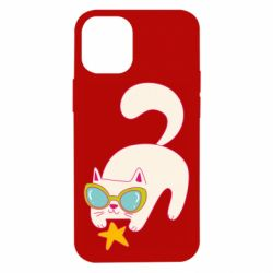 Чехол для iPhone 12 mini Funny cat with star