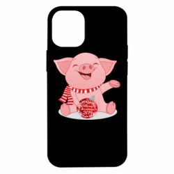 Чохол для iPhone 12 mini Funny pig with a Christmas toy