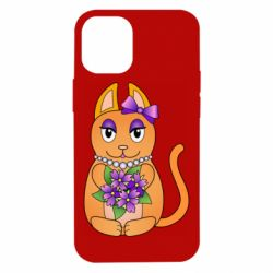 Чехол для iPhone 12 mini Girl cat with flowers