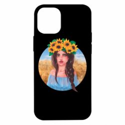 Чехол для iPhone 12 mini Girl in a wreath of sunflowers