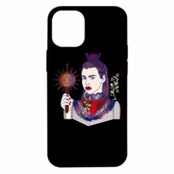 Чехол для iPhone 12 mini Girl with a crown and a flower on a beard