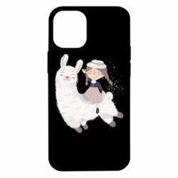 Чохол для iPhone 12 mini Girl with a lama
