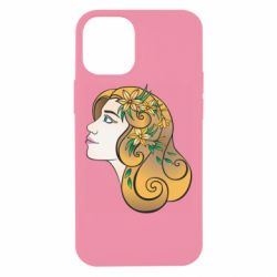 Чехол для iPhone 12 mini Girl with flowers in her hair art