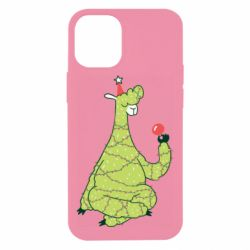 Чехол для iPhone 12 mini Green llama with a garland
