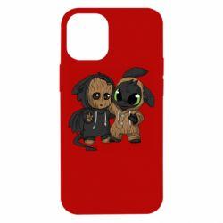 Чехол для iPhone 12 mini Groot And Toothless