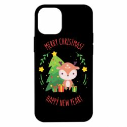 Чехол для iPhone 12 mini Happy new year and deer