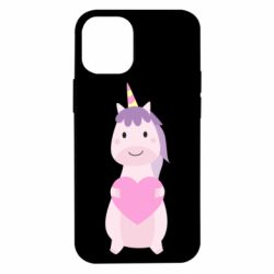 Чехол для iPhone 12 mini Happy unicorn with a heart