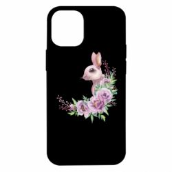 Чехол для iPhone 12 mini Hare in profile with flowers