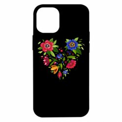 Чехол для iPhone 12 mini Heart made of flowers vector