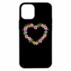 Чехол для iPhone 12 mini Heart of watercolor flowers