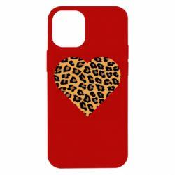 Чехол для iPhone 12 mini Heart with leopard hair