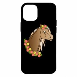 Чехол для iPhone 12 mini Horse and flowers art