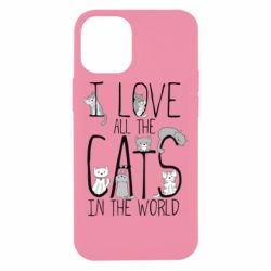 Чехол для iPhone 12 mini I Love all the cats in the world