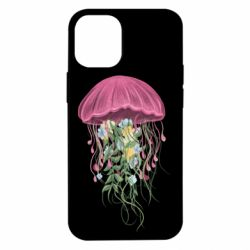 Чехол для iPhone 12 mini Jellyfish and flowers